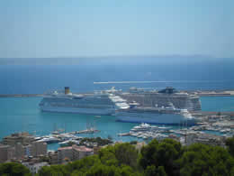 view of cruise ships from bellver castle