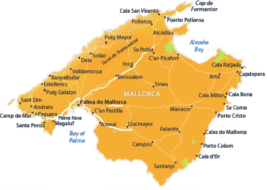 Map Of Majorca Holiday Resorts Mallorca Island Map Map Of Majorca Holiday Resorts